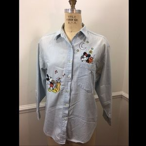 Disney Store Mickey Mouse Minnie Mouse Denim Shirt